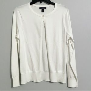Lands' End White Cardigan Size M